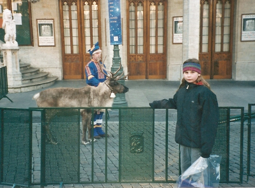 Real reindeer!  The town square always had something special to see.
