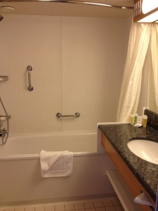 I think this bathroom is also larger than my first apartment