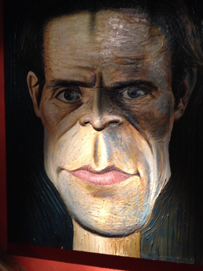 Willem DaFoe - This painting is about 5 feet tall. The chin and the nose are 3-D extending out from the surface of the canvas about an inch. He stared at me all through dinner.