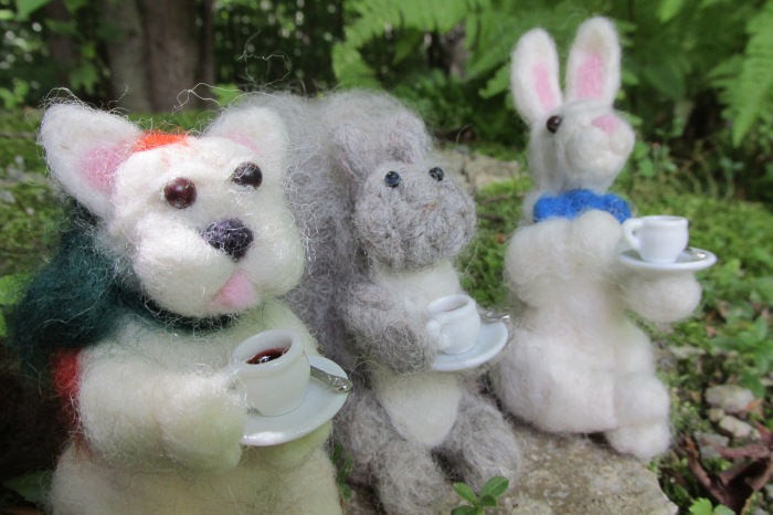 Tea Time in the forest for the needle felt gang.