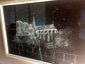 Notre Dame by night, 2004. White chalk. I didn't want to take it out of the frame to photograph.