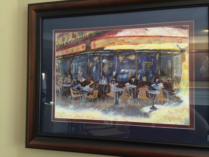 Family at Cafe, in Paris. Painted by Richard Orbeck, acrylic on canvas.