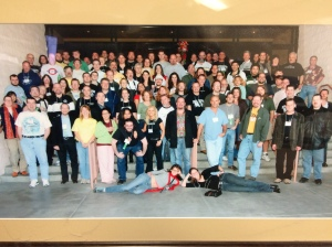 100+ members of the old JREF forum, who attended TAM4.  Photo supplied by Geek Goddess (somewhere there in the middle). At one time she could name all but three of the people, and still is friends with more than half. All met at TAM in 2007.