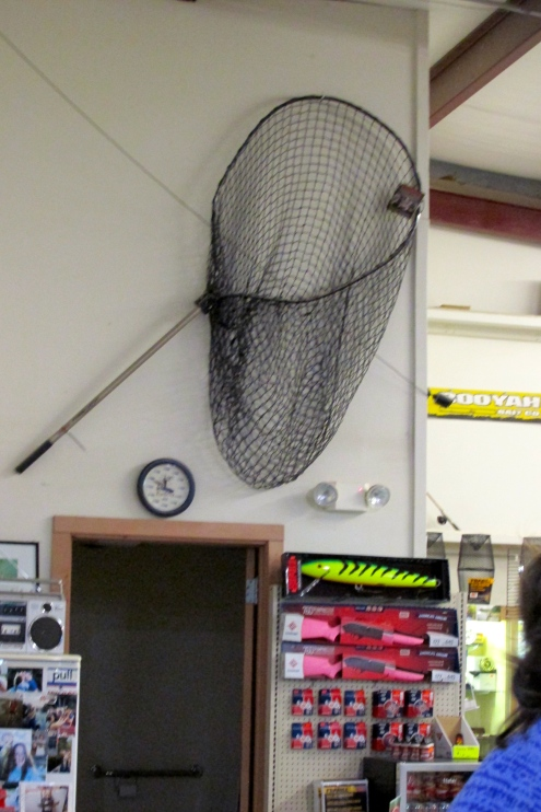 Big net or big pink gun, gotta catch them all!  No clue what the huge fishing lure is supposed to catch.